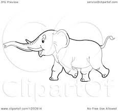 cartoon of a black and white outlined running elephant royalty