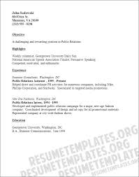 Brief Resume Example by Public Relations Resume Template