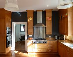 Golden Oak Kitchen Cabinets by Oak Kitchen Black Counter But Light Floor Modern Accents