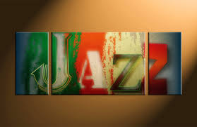 triptych colorful jazz music canvas large pictures