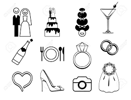 vector wedding icons set be used for wedding decoration