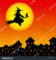 cat halloween background halloween background silhouette witch flying broom stock vector