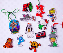 80s shrinky dink ornaments chica and jo