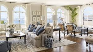 country beach living room with extra large carpet using cream