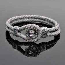 sterling silver leather bracelet images Tiger sterling silver clasp grey leather bracelets callvogue jpg