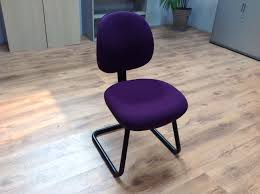 Purple Computer Chair Blue Linen Fabric For Meeting Chair With High Backrest Also Chrome