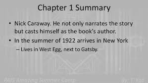the great gatsby chapter summaries 1 to 4