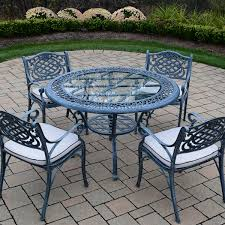 Oakland Living Mississippi Cast Aluminum Furniture Round Wrought Iron Outdoor Dining Table With Arm Chair
