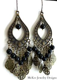 black chandelier earrings bronze filigree and black onyx chandelier earrings bohemian