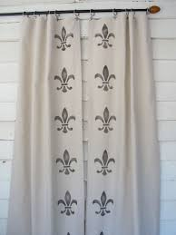 hand stenciled canvas drapes fleur de lis painted curtains