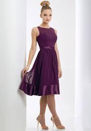 knee length bridesmaid dresses dreamlike siren straps scoop neckline column purple chiffon knee