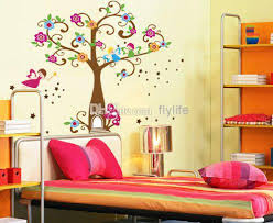 Tree Kids Room Decor Wall Stickers Happy Angels Colorful Flowers - Stickers for kids room