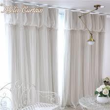 rideau pour chambre fille helen rideau moderne 2 couches romantique dentelle tulle rideaux