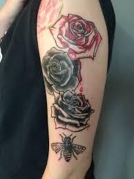 roses arm sleeve tattoo bee with roses tattoo on left half sleeve