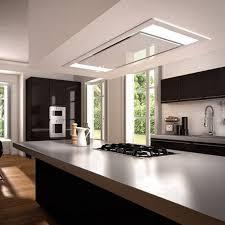 plafond de cuisine design cuisine design blanche et bois hotte de plafond newsindo co