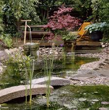 japanese style garden pond bridge gravel deer scarer acer duane