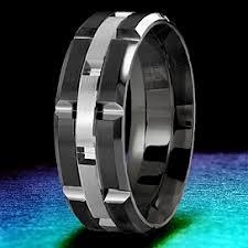 mens wedding bands cobalt carlex brushed white gold and black cobalt wedding band wb