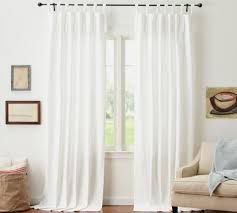 White Tie Curtains Textured Cotton Tie Top Drape Pottery Barn White Tie Curtains