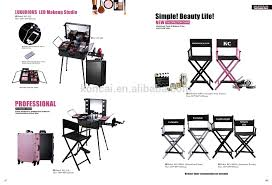 rolling makeup case with lighted mirror profelssional makeup beauty lighting case rolling trolley make up