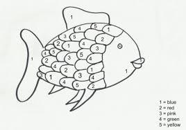 fun color number rainbow fish coloring preschoolers