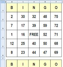 excel bingo template expin memberpro co