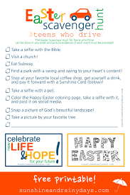 easter scavenger hunt easter scavenger hunt for teenagers who drive sunshine and rainy