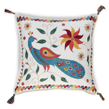Cusion Cover Buy Hand Embroidered Peacock Cushion Cover Online Oxfam Shop