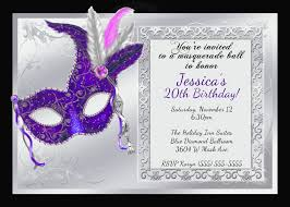 21st Birthday Invitation Cards Birthday Invites Incredible Masquerade Birthday Invitations