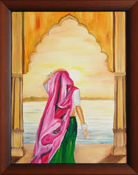 padharo maare desh 21 x 27 vertical figurative oil painting on canvas board framed