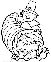 thanksgiving coloring pages cornucopia pilgrim coloring page
