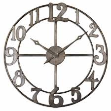 hall oversized wall clocks with brown wooden floor and small