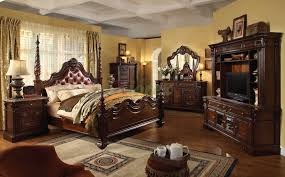 White Leather Bedroom Furniture Traditional Poster Bedroom Furniture Set With Leather Headboard 105