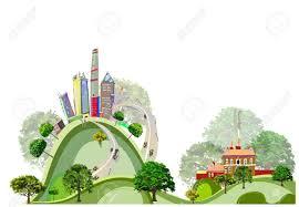 comfortable life modern city and village environmental concept comfortable life