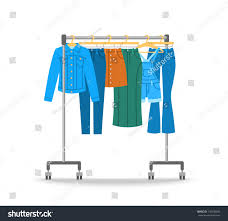 women jean clothes hanging on hanger stock vector 716538649