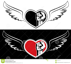 fist tattoo designs heart fist and wings the tattoo design stock photo image 32847010