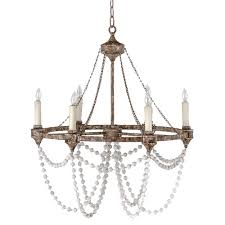 auvergne french country rustic iron white bead chandelier rustic