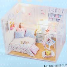 hoomeda diy wood dollhouse miniature with led furniture cover doll