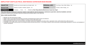 paint shop electrical maintenance supervisor engin cover letter