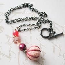 long orange necklace images Long strand necklace needle felt bead cranberry orange necklace jpg