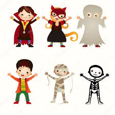 an illustration of kids in halloween costumes u2014 stock vector