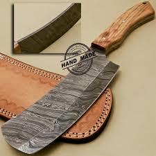 Damascus Steel Kitchen Knives Damascus Cleaver Butchers Knife Custom Handmade Damascus Steel