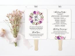 wedding program fans vistaprint 5x7 lavender wedding program fan template printable