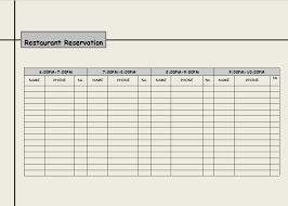 Restaurant Reservation Sheet Template 2 Restaurant Reservation Log Templates Excel Xlts