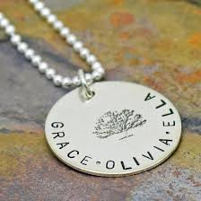 personalized sterling silver jewelry family tree necklace personalized sted sterling silver