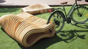 cnc milled plywood forms dual bench and bike rack in costa rica