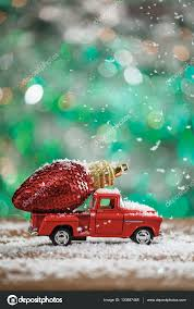 glitter truck christmas toy truck with red glitter light ornament and snow