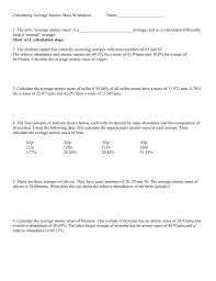 calculating average atomic mass worksheet name