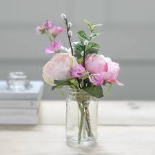 jar flowers faux flower pink peony vintage jar flower studio shop