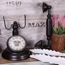 chic retro telephone model vintage decor retro desk clock table