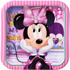 minnie s bowtique 7 minnie mouse bow tique square paper party plate 8ct walmart